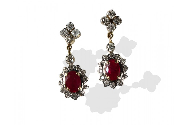 10441ad6b Buy Ruby & Diamond Earring in 14k Online in India at Best Price - Jewelslane
