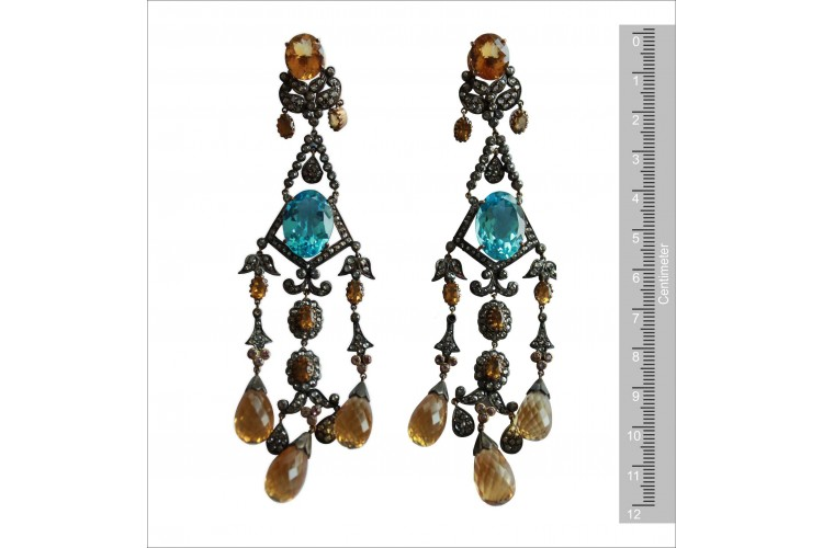 Chandelier Earrings with Blue Topaz