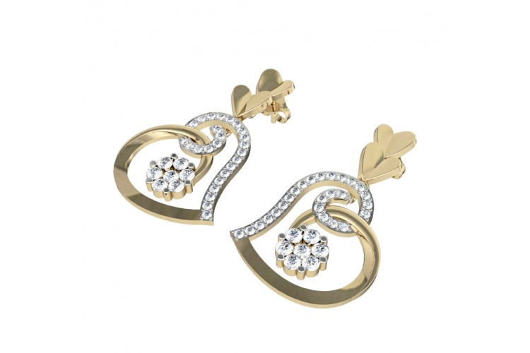 Valentine Diamond Heart Danglers