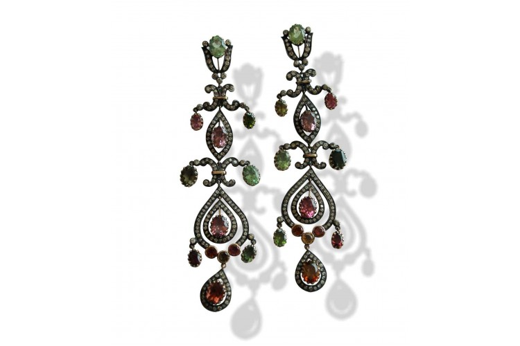 Chandelier Earrings with Tourmaline