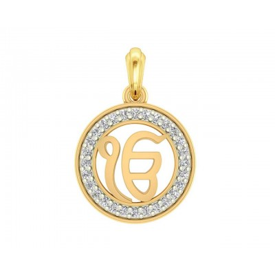 Ik onkar 12mm charm in hallmarked Gold with round brilliant diamonds