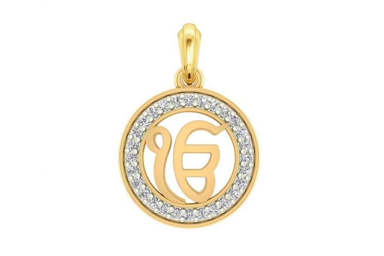 Ik onkar 12mm charm in hallmarked gold with round brilliant diamonds aloadofball Images