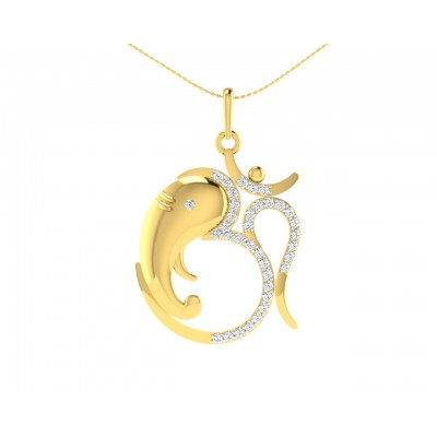 Om Ganesh in Gold & diamonds Pendant