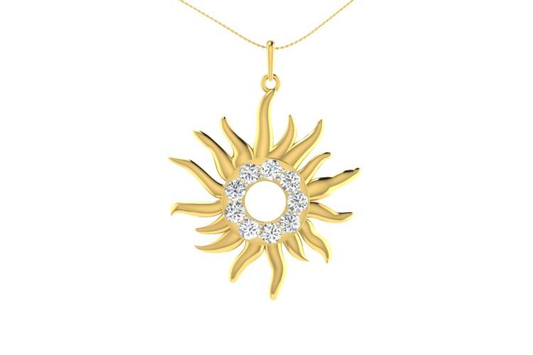 Auspicious sun pendant in gold diamonds aloadofball Gallery