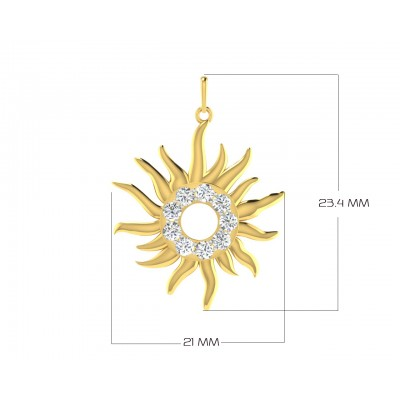 Auspicious sun pendant in gold & diamonds