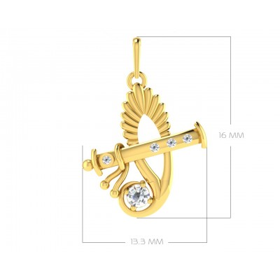 Sri Krishna Gold pendant with diamonds