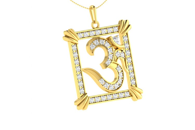 Auspicious Aum Pendant in Gold with diamonds