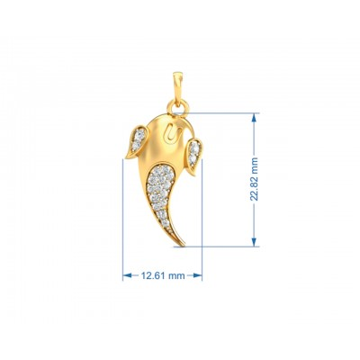Artistic Ganpati Pendant in Gold with Diamonds