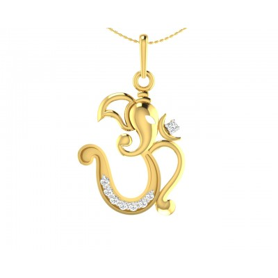 Creative Aum Ganesh Pendant in Gold and diamonds
