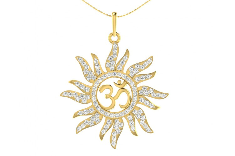 Diamond Aum Pendant in Gold