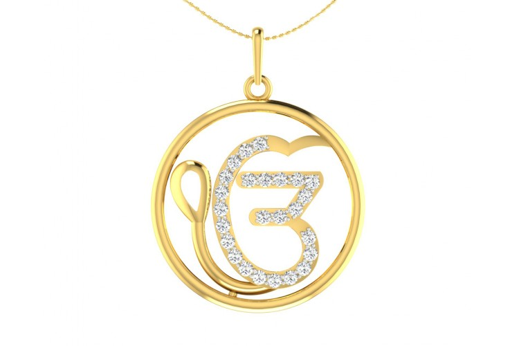 Auspicious Ik Onkaar Gold Pendant with Diamonds