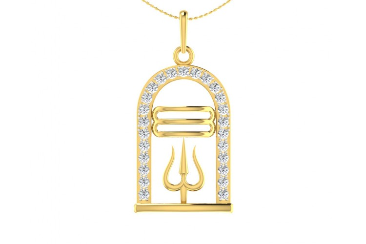Auspicious Shiv ling and Shiv trishul pendant in gold with diamonds