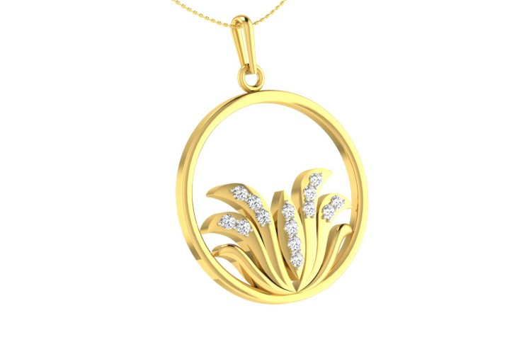 Auspicious Lotus Pendant in Gold with Diamonds