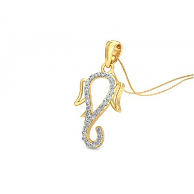 Auspicious Ganpati Gift Pendant in Gold with diamonds
