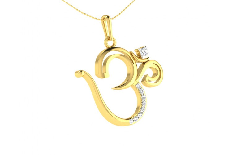 Om Pendant in Gold with diamonds