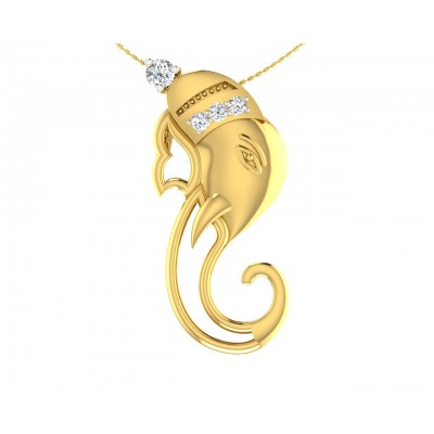 Divine Ganpati Pendant in gold with diamonds