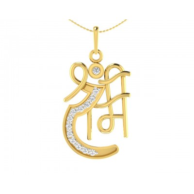 Propitious Shri Ram pendant in gold with diamonds