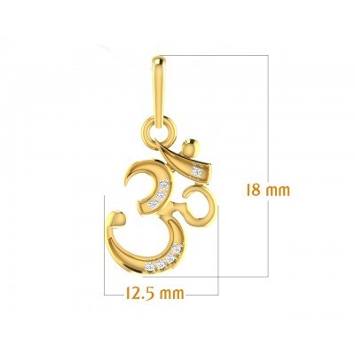 Ornate Aum Pendant in Gold with diamonds