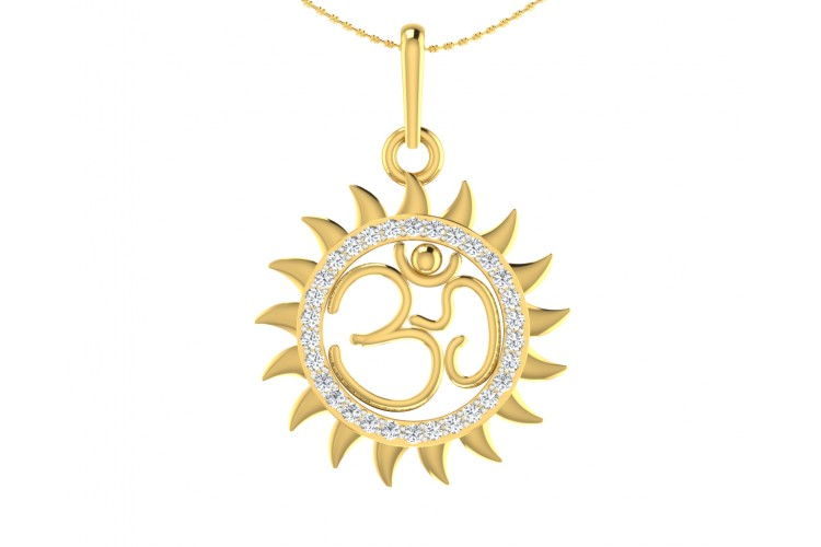 Diamond pendant in gold om diamond pendant in gold mozeypictures Image collections
