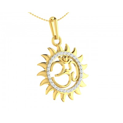 Om diamond pendant in Gold