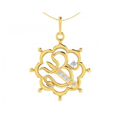 Auspicious Om with Trident pendant in Gold