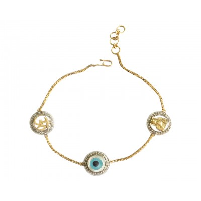 Evil Eye, Om & Sai Bracelet in gold with 10mm charms