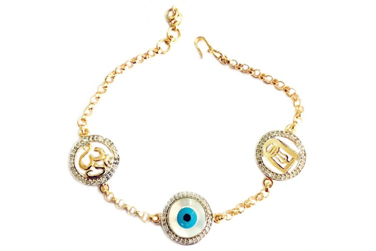 Auspicious Om, Evil eye and Shiv Trishul Gold bracelet with diamonds