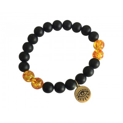 Evil Eye Amber beads bracelet in Gold