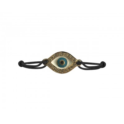 Evil Eye Bracelet in Gold with Diamond & Enamel