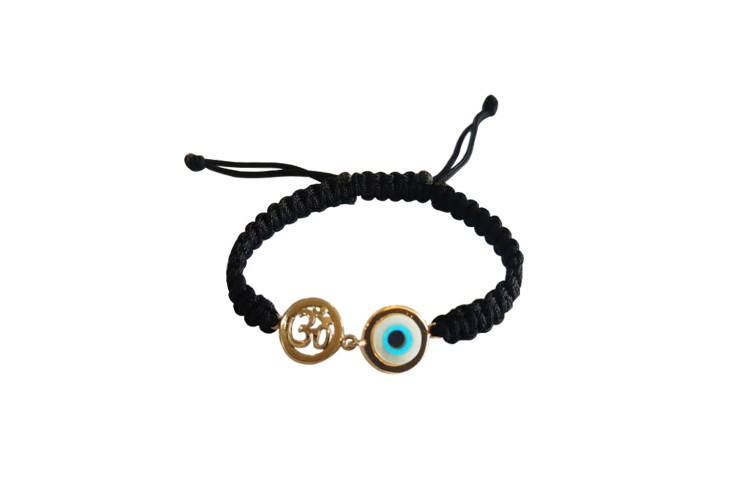 Auspicious om & evil eye joint bracelet with 10mm charm