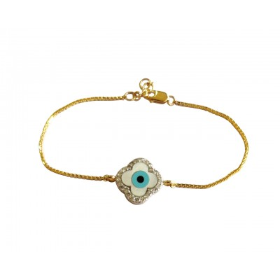 Evil eye clover bracelet in gold with diamonds