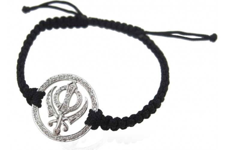 Khanda Bracelet in Silver with Diamonds on Nylon Thread