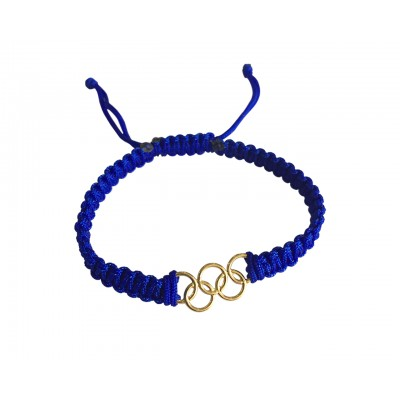 Olympic Rings in Gold on size adjustable thread band