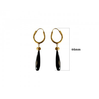 Silver Gold plated bali with Black onyx drops