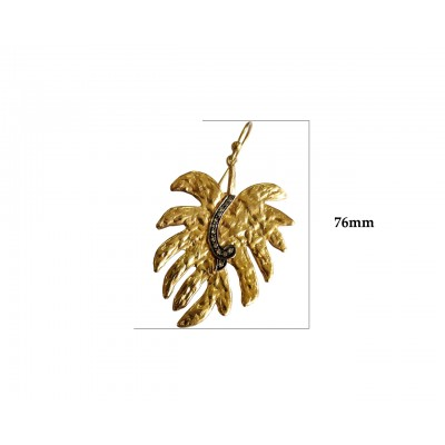 Gold Plated Leaf design earring with diamonds