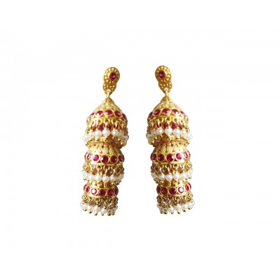 Silver gold plated jhumkis with pearls & red zircons
