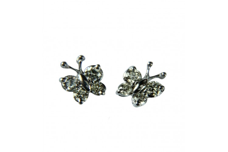 Diamond Butterfly Earring with Diamonds in White Gold