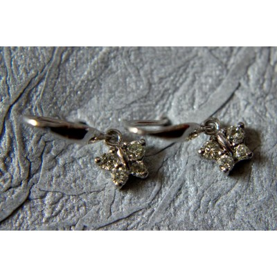 Diamond Butterflies Earring in White Gold