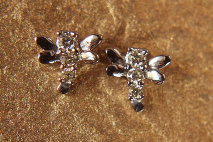 Diamond Earrings Dragonfly Design