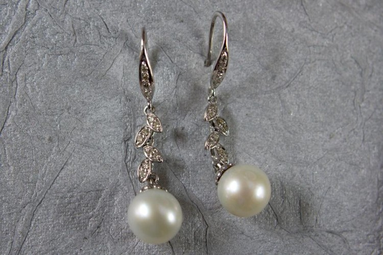 Pearl Drops with Diamonds