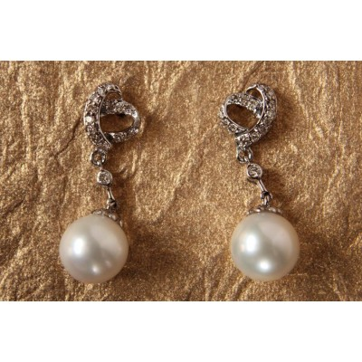 Pearl Drop Earrings in White Gold