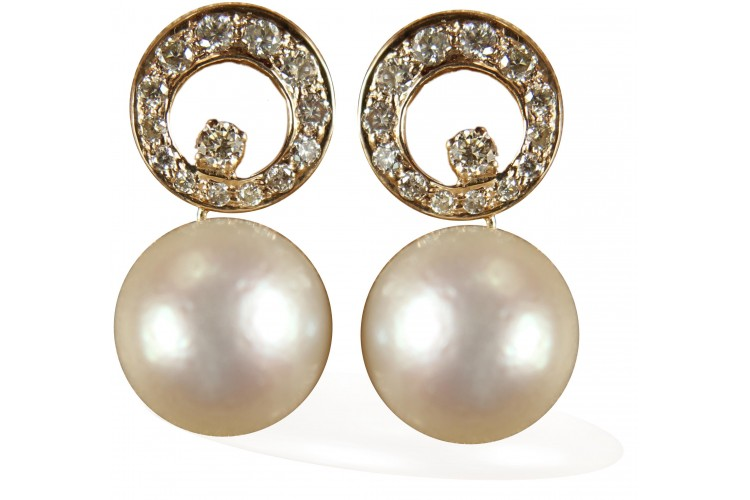 Diamond Earrings with Pearl Drop