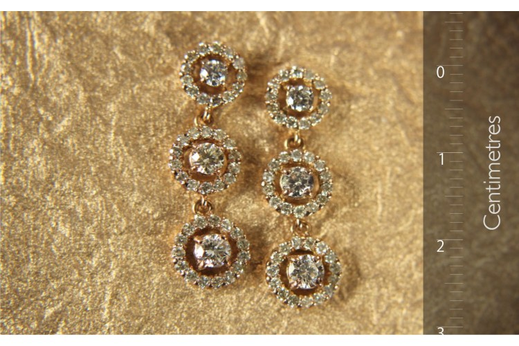 Diamond Triple Cluster Earrings