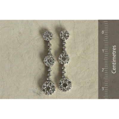 Diamond Earrings with Hanging Clusters