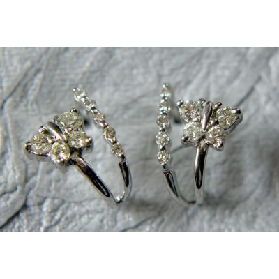 Diamond Butterflies Earing with Hoops