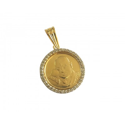 Jai guru Ji swaroop pendant in gold with diamonds