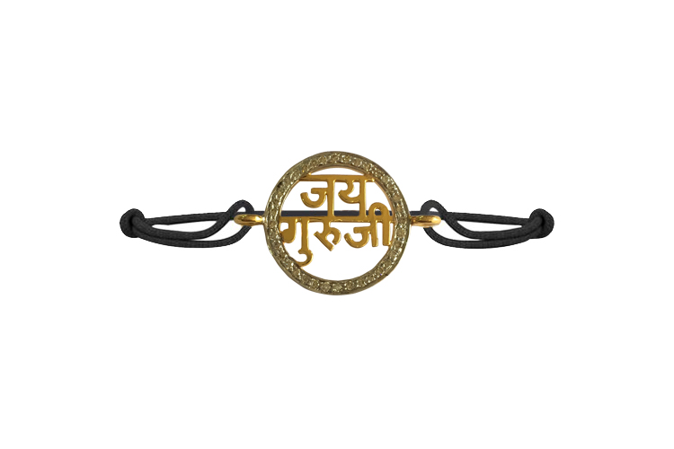 Jai Guru Ji Blessing Bracelet in Gold with Diamond Border