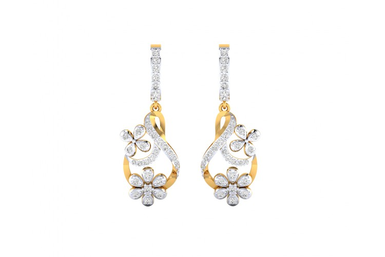 Wagma Diamond dangle drop earrings in gold