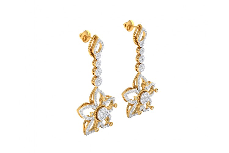 Florina Diamond Dangle drop earrings set in 18k gold