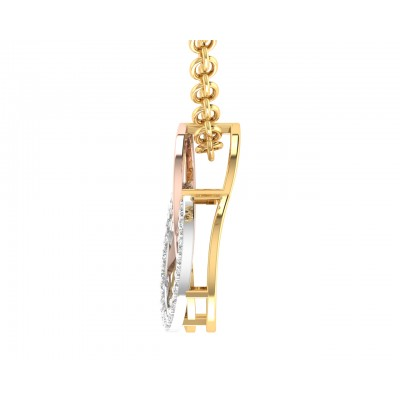 Amy Diamond Pendant in tricolor gold with diamonds